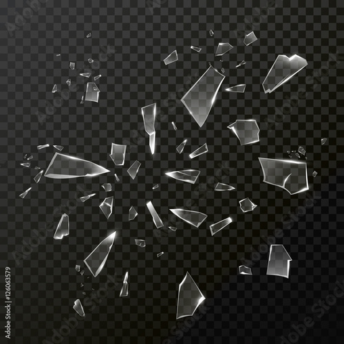 Broken shattered glass debris. Vector transparent Fototapeta