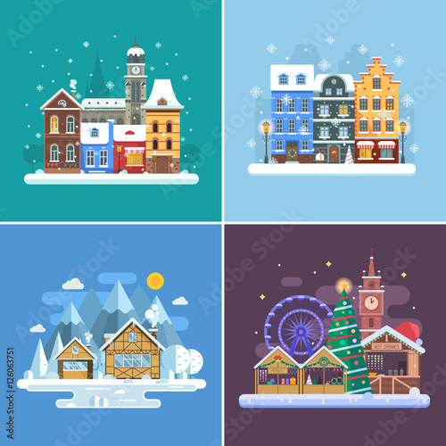 Wall Murals Green coral New Year and winter travel backgrounds. Christmas fair, Europe winter town, snow village in alps and winter city street. Landscape set in flat design. New Year holidays and vacation concept backdrops.