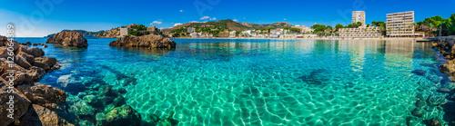 Foto op Plexiglas Panoramafoto s Panorama Coast Seaside Spain Majorca Beach of Paguera Platja Palmira
