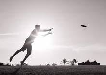 Male Playing Frisbee Game In T...