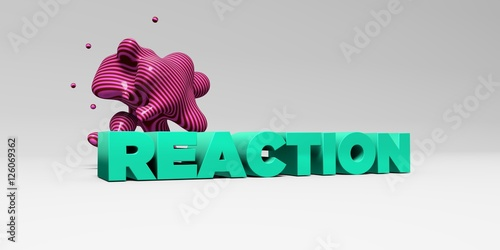 Photo  REACTION -  color type on white studiobackground with design element - 3D rendered royalty free stock picture