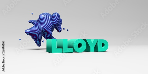 LLOYD -  color type on white studiobackground with design element - 3D rendered royalty free stock picture Canvas Print