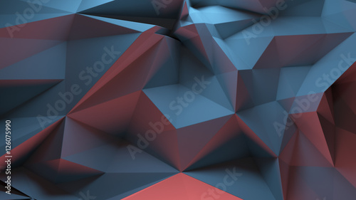 3d rendering triangular background. Spike and sharp forms. Deformation of triangulate surface. Abstract displacement fractured plane. - 126075990