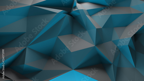 3d rendering triangular background. Spike and sharp forms. Deformation of triangulate surface. Abstract displacement fractured plane. - 126075991
