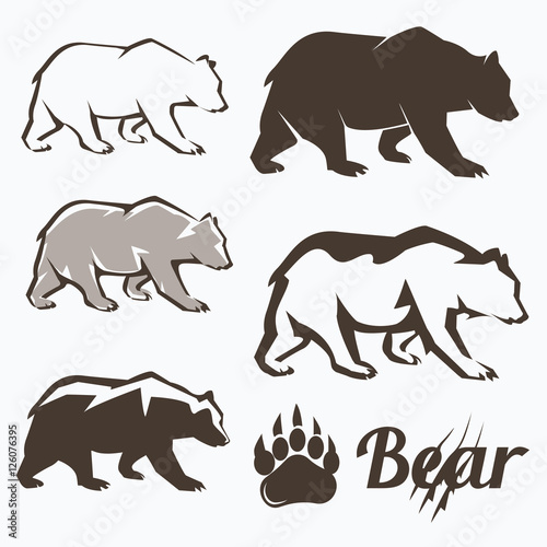 Fotografie, Tablou  set of walking bear silhouettes in different style, collection o