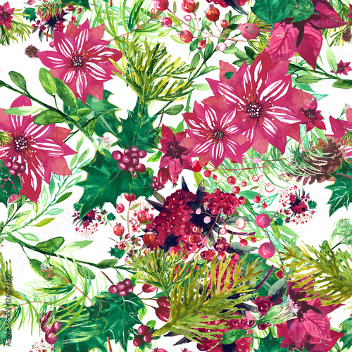 Stoffe zum Nähen Weihnachten botanische Aquarell Muster