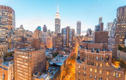 Fototapeta Sunset aerial view of Midtown Manhattan, New York CIty
