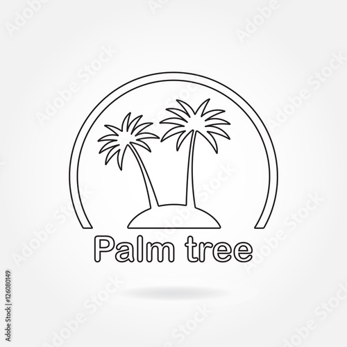 Palm Tree Icon Or Sign Outline Symbol Of Two Black Palm Trees