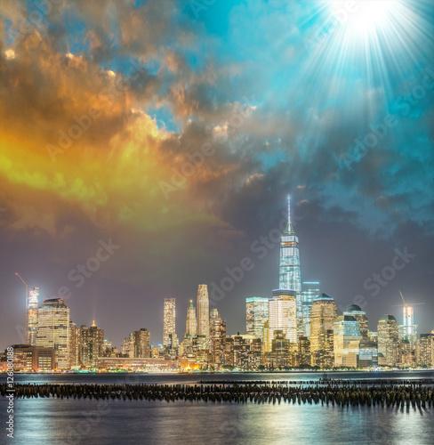 Night skyline of Manhattan at sunset, view from Jersey City coas