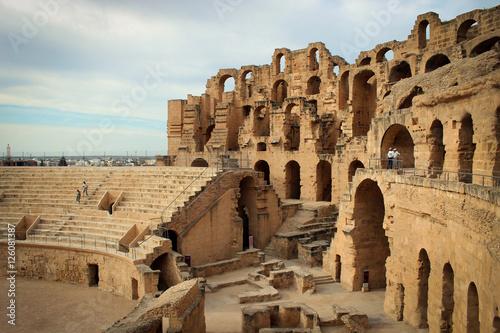 Poster Tunesië Amphitheatre of El Jem views, Tunisia