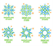 Set Of Blue And Green Snowflake Vector Logo Templates Isolated On White Background. Geometrical Abstract Snowflake Logo, Frozen Product, Christmas Celebration, Winter Activities Logo Design