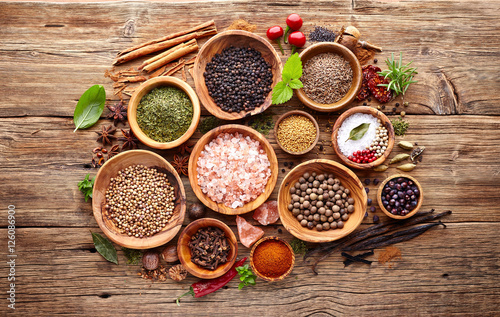 Canvas Prints Spices Spices and herbs on a wooden background