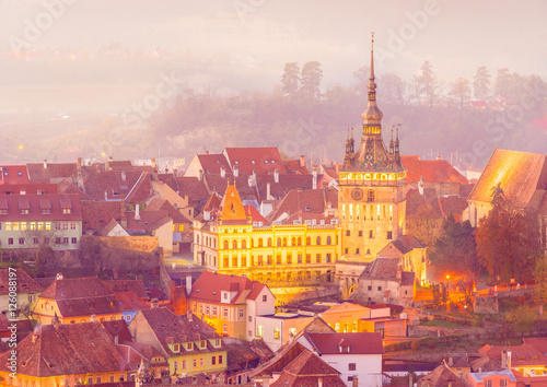 Canvas Prints Eastern Europe The Clock Tower in the medieval city of Sighisoara, Transylvania landmark, Romania