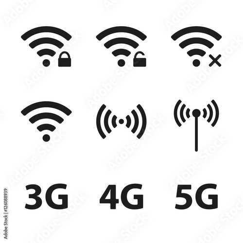 Wifi and wireless icon set for remote internet access isolated on ...