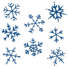 Collection Of Drawn Snowflakes...