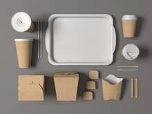 Burger Bar Set Craft Paper Blank Design Fast Food Cardboard Tableware. Mockup Template Kraft Cardboard Cups Coffee. Package Wok Box French Fries Potato Chicken Nugget. Gray Background 3d Illustration.