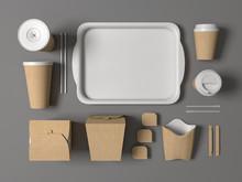 Burger Bar Set Craft Paper Blank Design Fast Food Cardboard Tableware. Mockup Template Kraft Cardboard Cups Coffee. Package Wok Box French Fries Potato Chicken Nugget. Gray Background 3d Illustration.