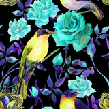 Watercolor birds on the blue roses - 126095180