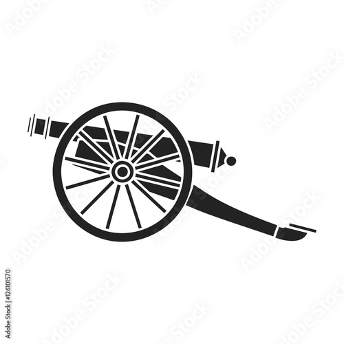 Billede på lærred Cannon icon in black style isolated on white background
