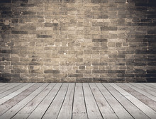 Empty Room Perspective,grunge Brick Wall And Wood Plank Floor, M