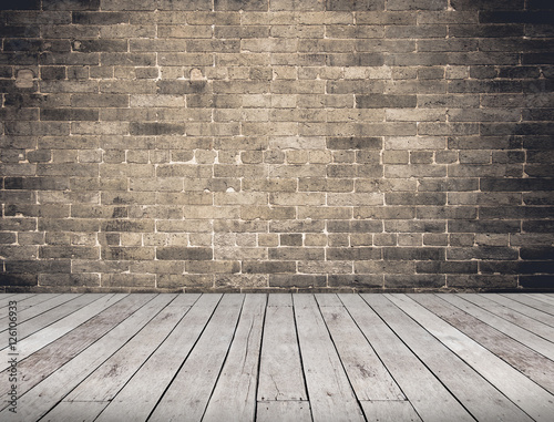 Deurstickers Baksteen muur Empty Room perspective,grunge brick wall and wood plank floor, M