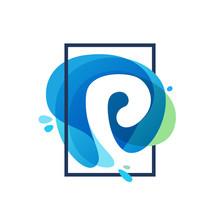 P Letter Logo In Square Frame At Blue Watercolor Splash Backgrou