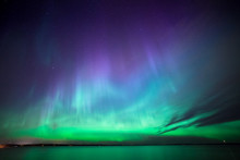 Northern Lights Over Lake In F...
