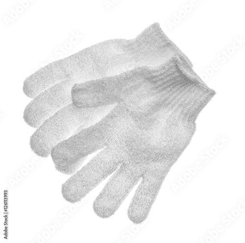 Valokuva  Exfoliating massage gloves isolated on white