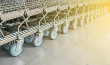 Close-up Group Of Shopping Cart Wheels.