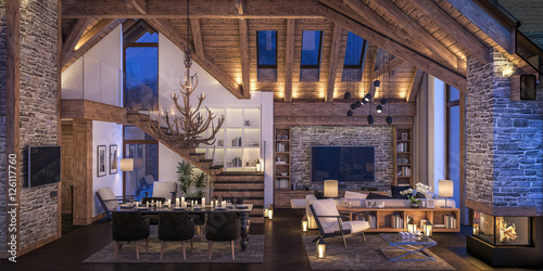 Fotografiet  3D rendering of evening living room of chalet