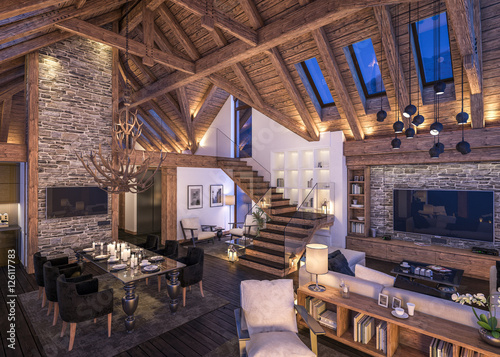 Fotografie, Obraz  3D rendering of evening living room of chalet