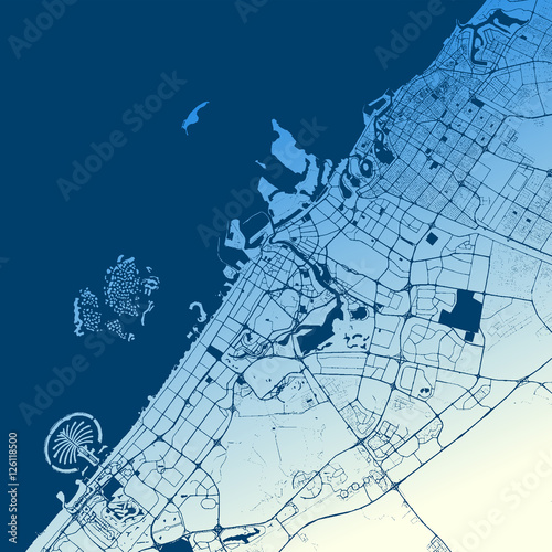 Fotografie, Obraz Dubai Two-Tone Map Artprint