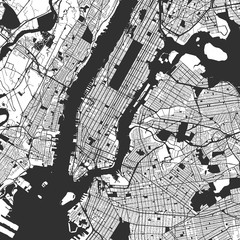 Fototapeta na wymiar New York City Manhattan One Color Map