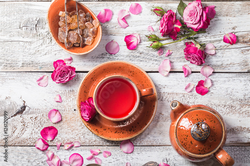Valokuva  Rose buds tea in a cup