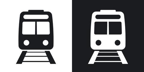 Fototapeta Vector train icon. Two-tone version on black and white background