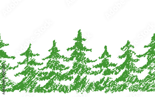 Crayon Childs Drawing Merry Christmas Tree Pattern On White Hand Painting Pastel Chalk Green Color