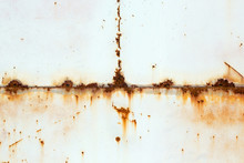 Rusty Metal Wall. Some Leaks Of Rust Visible. Copyspace.