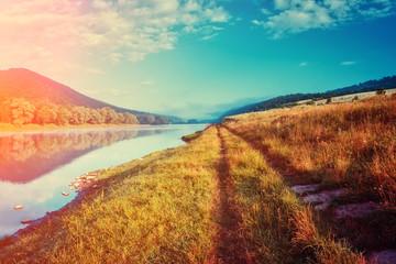 Panel Szklany Podświetlane Krajobraz Fantastic foggy river