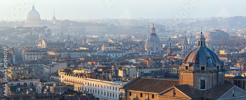 Rome city top panorama, Italy. Canvas Print