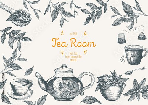 Vector illustration for Tea Shop Canvas-taulu