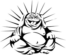 Laughing Bulldog Buddha Sitting Black And White