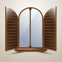The Semicircular Arched Window With Protective Shutters Italian