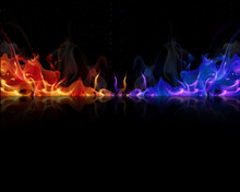 Red And Blue Flames On A Black...