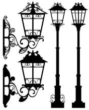 Street Light Black And White Vector Design