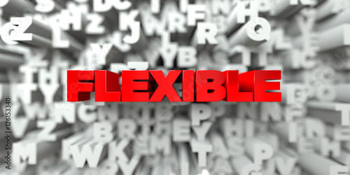 Fotografie, Obraz  FLEXIBLE -  Red text on typography background - 3D rendered royalty free stock image