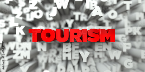 TOURISM -  Red text on typography background - 3D rendered royalty free stock image Poster