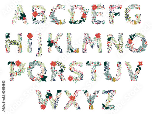 Fotografie, Obraz  Vector Set of Beautiful Christmas or Winter Holidays Floral Alphabet