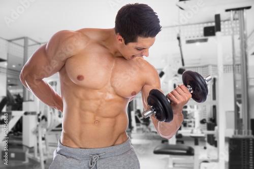Fotografie, Obraz  Bodybuilder Bodybuilding Muskeln Body Building Fitnessstudio Tra