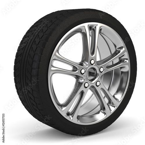 Fotografia, Obraz  3d Reifen mit Felge, Reifenwechsel im Winter und im Sommer