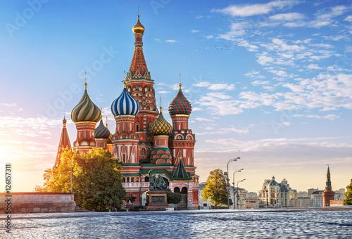 Photo sur Toile Moscou Собор Василия Блаженного и никого S